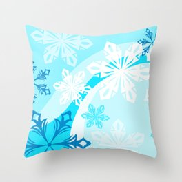 Blue Flower Art Winter Holiday Throw Pillow