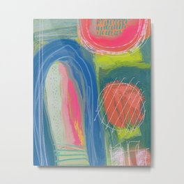 Shapes and Layers no.27 - Abstract Painting gouache and pastels Metal Print