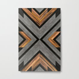 Urban Tribal Pattern 2 - Concrete and Wood Metal Print