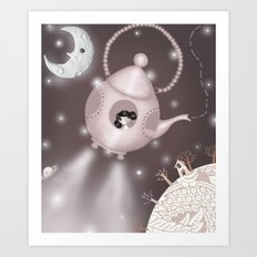 Across star riddled skies..or if goths went into space they would go in teapots Art Print