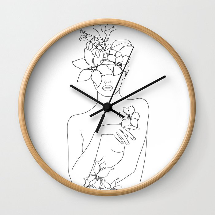 Minimal Line Art Woman with Flowers IV Wall Clock