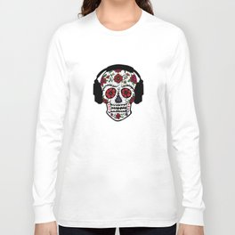 Sugar Skull with headphones Long Sleeve T-shirt