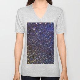 Blue and Gold Sparkles Unisex V-Neck