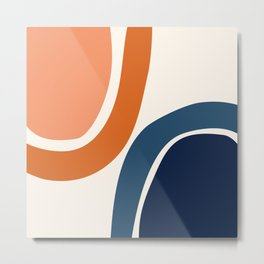 Abstract Shapes 34 in Burnt Orange and Navy Blue Metal Print