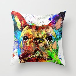French Bulldog Grunge Throw Pillow