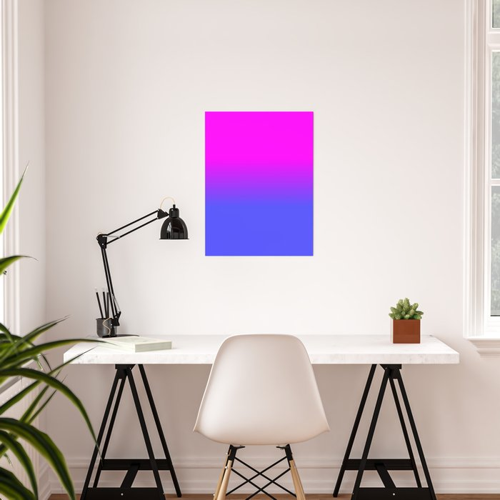 Neon Blue and Hot Pink Ombré Shade Color Fade Poster