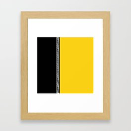Greek Key 2 - Yellow and Black Framed Art Print
