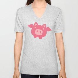 Pink Flying Pig Unisex V-Neck