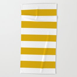 Mustard yellow - solid color - white stripes pattern Beach Towel