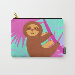 Cute sleeping baby sloth, tropical exotic monstera leaves. Rainforest art illustration. Carry-All Pouch
