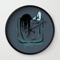 pocket Wall Clocks featuring Pocket Samara by Mike Handy Art