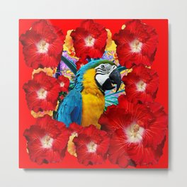 Red Hibiscus Flowers & Blue Macaw Parrot Metal Print