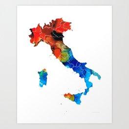 Italy - Italian Map By Sharon Cummings Art Print