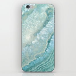 """Aquamarine Pastel and Teal Agate Crystal"" iPhone Skin"