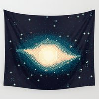 8bit Wall Tapestries featuring Sombrero Galaxy M104 (8bit) by sp8cebit