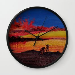 Colors melted,  fading along with the sun, the world is thrown into an inky darkness. Wall Clock