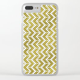 White & Gold Arrow Pattern with Black Polka Dots Clear iPhone Case