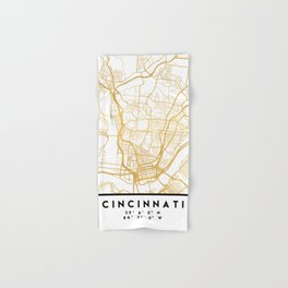CINCINNATI OHIO CITY STREET MAP ART Hand & Bath Towel