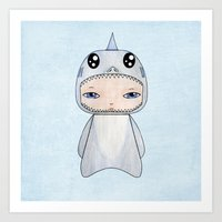 tintin Art Prints featuring A Boy - Shark by Christophe Chiozzi