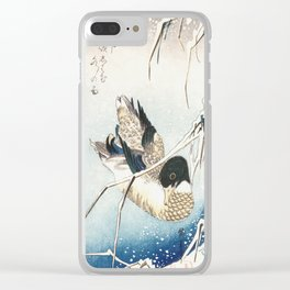 Mallard and Snow-covered Reeds Clear iPhone Case