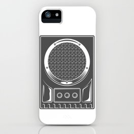 Vintage music concert audio loudspeaker in monochrome style illustration iPhone Case