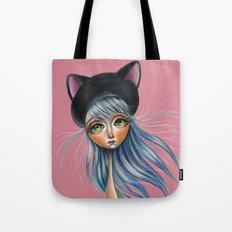 Kit Cat :: Girl in Her Kitty Hat Illustration Tote Bag