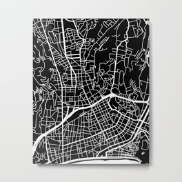 Street MAP Nice // Black&White Metal Print