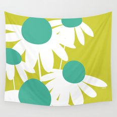 Flowers on Green by Friztin Wall Tapestry