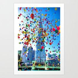 Burj Khalifah, Dubai, United Arab Emirates and Balloons a by Ahmet Asar Art Print