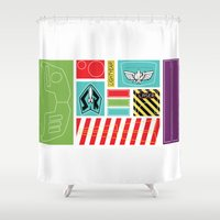 buzz lightyear Shower Curtains featuring TOY STORY : BUZZ LIGHTYEAR STICKERS KIT by DrakenStuff+