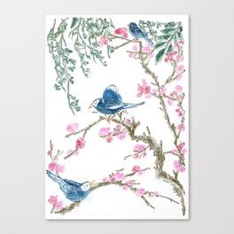 sakura with bird illustration Canvas Print