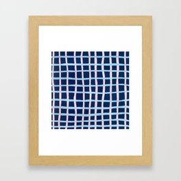 Pink and Blue Grid Framed Art Print