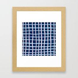 Pink and Blue Grid Framed Art Print