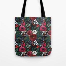 Festive Red Floral Arrangement on Black  Tote Bag