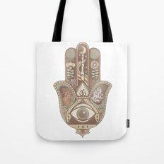 Hamsa Hand Faded Colour Tote Bag