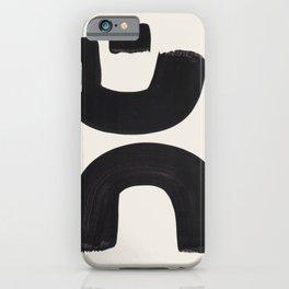 Mid Century Modern Minimalist Abstract Art Brush Strokes Black & White Ink Art Tribal Marking iPhone Case