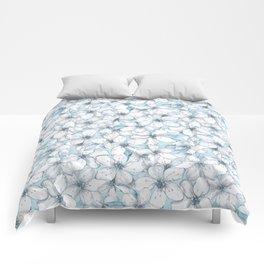 Cherry blossom. Blue Comforters