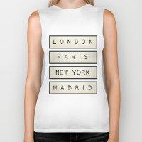 calendars Biker Tanks featuring London | Paris | New York | Madrid by Shabby Studios Design & Illustrations ..