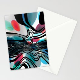 Wild Primary Color Wave Abstract Stationery Cards