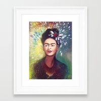 frida khalo Framed Art Prints featuring Frida Khalo by Rosanna Konst