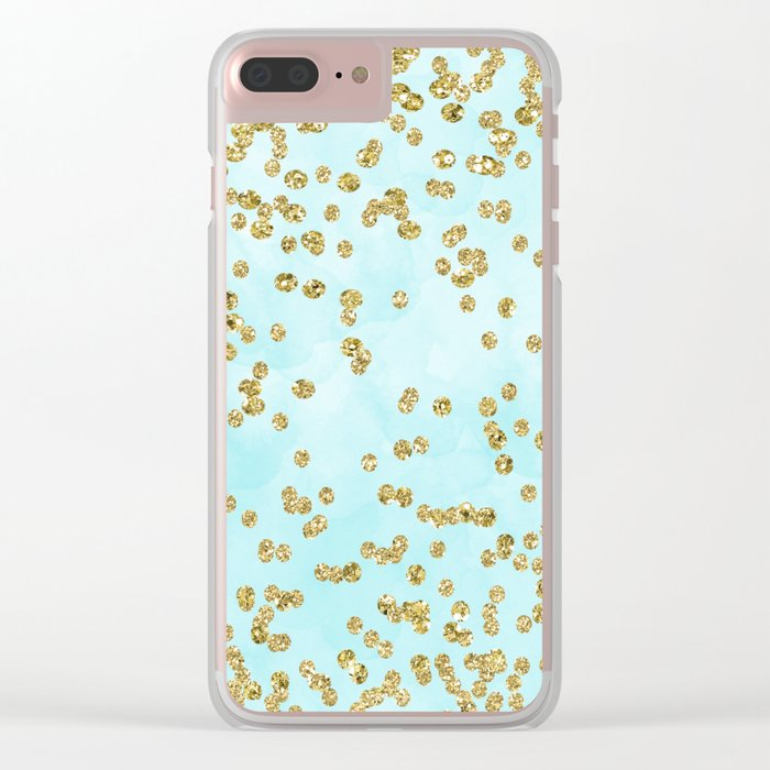 Sparkling gold glitter confetti on aqua ocean blue watercolor background-Luxury pattern on #Society6 Clear iPhone Case