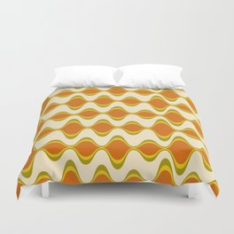 Retro Psychedelic Wavy Pattern in Orange, Yellow, Olive Duvet Cover