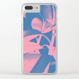 Rubber Plant pink and blue Clear iPhone Case