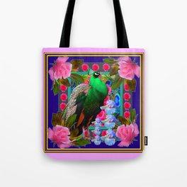 INDIGO PURPLE & PINK ROSES GREEN PEACOCK FLORAL Tote Bag