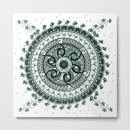 Classical Circle Turquoise Mandala Metal Print