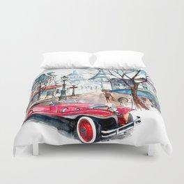 Red retro car Duvet Cover