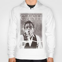 johnny cash Hoodies featuring Cash by loveme
