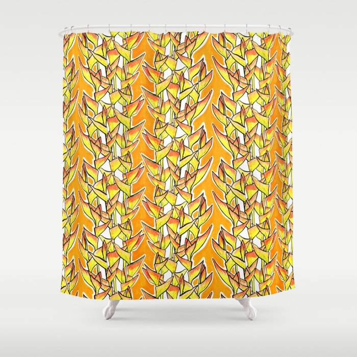 Heliconia Rostrata Lobster Claw Yellow Orange White Shower Curtain By Clipsocallipso