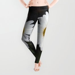 Old And Young Daisies Texture Leggings