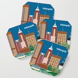 Indianapolis, Indiana - Skyline Illustration by Loose Petals Coaster